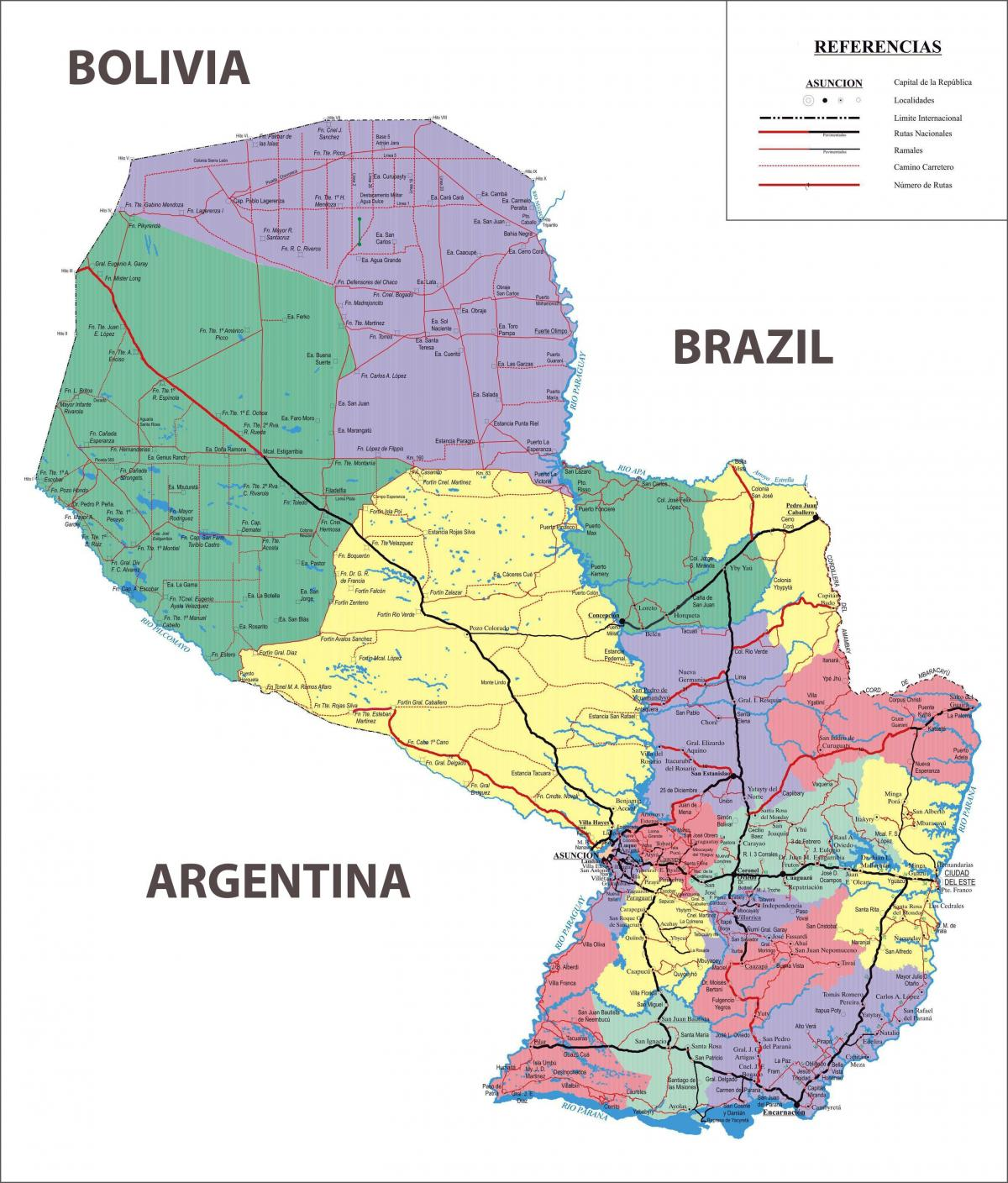 the map of Paraguay