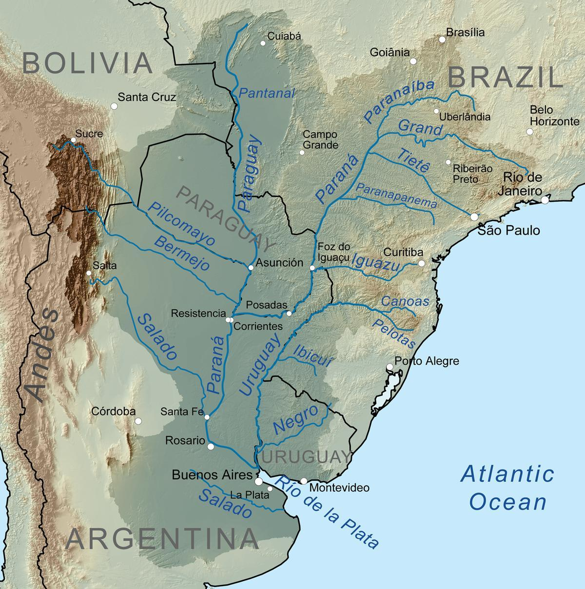 Map of Paraguay river