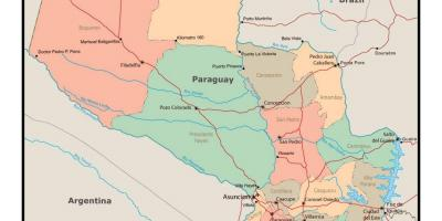 Map of Paraguay with cities