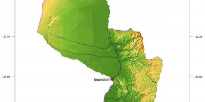 Map of physical Paraguay
